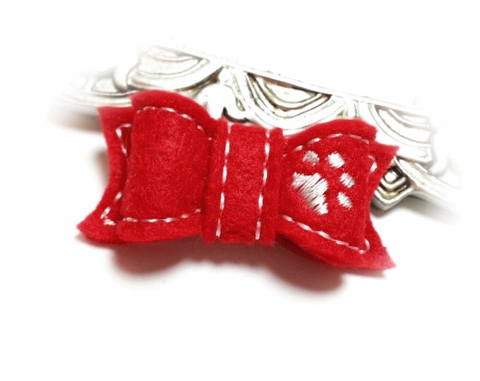 Red Dog Bow, Christmas Dog Bow, White Dog Paw, Pet Accessory, Dog Grooming Bow, Embroidered Bow, Dog Hair Bow, Pet Bow, Red Pet Bow