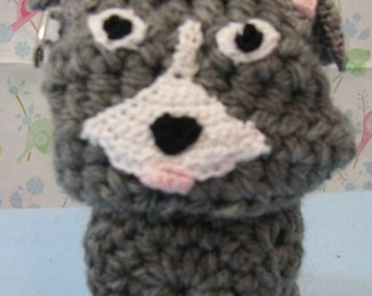 Gray Pit Bull Standing Body Coin Purse