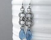 Blue Sapphire Earrings Silver Dangle Earrings Sterling Silver Earrings Blue Crystal Earrings Bohemian Jewelry September Birthstone Jewelry