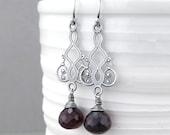 Garnet Earrings Sterling Silver Earrings Red Drop Earrings Long Dangle Earrings Handmade Jewelry Holiday Gift for Her Moroccan Dreams