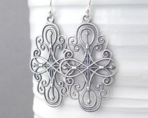 Silver Filigree Earrings Long Silver Earrings Compass Rose Jewelry Compass Jewelry Sterling Silver Jewelry - Compass Rose