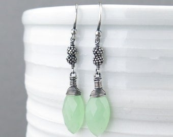 Bohemian Earrings Sterling Silver Earrings Dangle Green Chalcedony Earrings Silver Drop Earrings Rustic Jewelry Gift for Her - Tracey