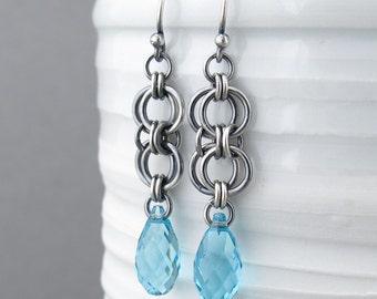 Turquoise Earrings Blue Earrings Silver Dangle Earrings Blue Crystal Earrings Bohemian Jewelry - Teardrop