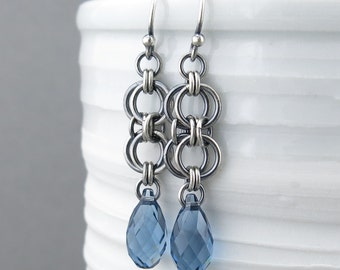 Blue Sapphire Earrings Silver Dangle Earrings Sterling Silver Earrings Blue Crystal Earrings Bohemian Jewelry Birthstone Jewelry - Teardrop