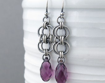 Amethyst Earrings Silver Dangle Earrings Sterling Silver Earrings Purple Crystal Earrings Bohemian Jewelry February Birthstone Jewelry