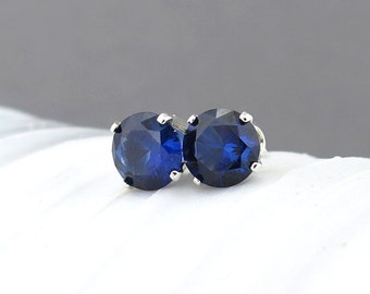 Sapphire Stud Earrings Small Silver Earrings September Birthstone Jewelry Sapphire Earrings 6mm Blue Stud Earrings Gemstone Post Earrings