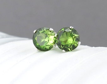 Peridot Earrings Small Silver Earrings Peridot Stud Earrings 6mm Post Earrings Green Earrings August Birthstone Jewelry Holiday Gift for Her