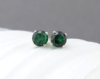 Emerald Earrings Birthstone Jewelry Tiny Silver Earrings Emerald Stud Earrings Gemstone Post Earrings May Birthstone Earrings