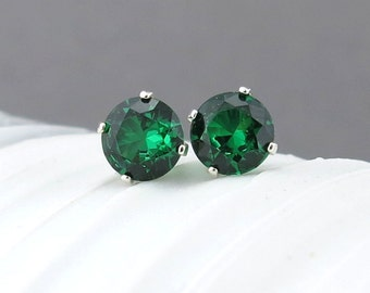 Emerald Earrings Small Silver Earrings Emerald Stud Earrings Gemstone Post Earrings 6mm May Birthstone Green Earrings Holiday Gift for Her