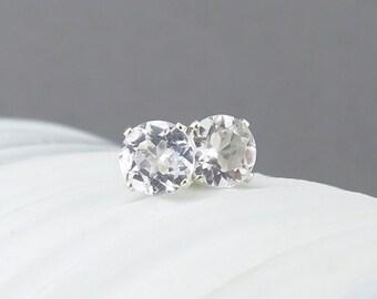 White Topaz Earrings Small Silver Earrings 6mm White Topaz Stud Earrings Gemstone Post Earrings Silver Stud Earrings April Birthstone