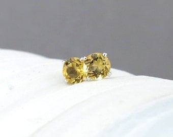 Citrine Earrings Tiny Silver Earrings Citrine Stud Earrings November Birthstone Gemstone Post Earrings Silver Stud Earrings 4mm