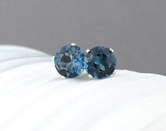 London Blue Topaz Earrings 6mm Small Silver Earrings Gemstone Post Earrings Silver Stud Earrings Bohemian Jewelry Topaz Stud Earrings