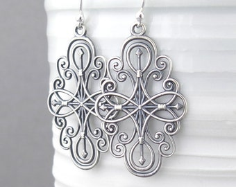 Long Silver Earrings Silver Filigree Earrings Compass Rose Jewelry Gift for Her Girlfriend Gift Sterling Silver Jewelry - Compass Rose