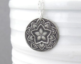 Sterling Silver Necklace Long Silver Necklace Silver Pendant Necklace Bohemian Jewelry Rustic Jewelry Layered Necklace - Five Point Flower