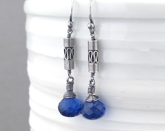 Silver Earrings Dangle Blue Earrings Bohemian Earrings Silver Drop Earrings Rustic Jewelry Boho Chic Jewelry Gift for Her - Tracey