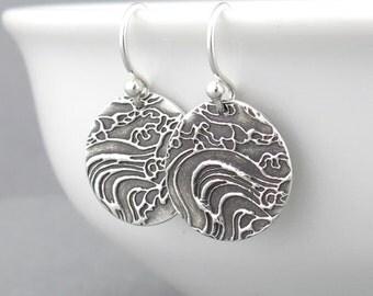 Sterling Silver Dangle Earrings Silver Earrings Beach Jewelry Ocean Jewelry Beach Jewelry Nautical Jewelry - Unique Petites