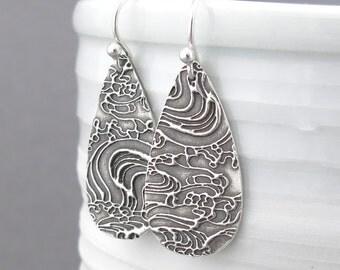 Long Silver Earrings Dangle Ocean Jewelry Silver Teardrop Earrings Modern Silver Earrings Beach Jewelry Bohemian Jewelry Unique - Abigail