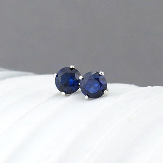 Blue Sapphire Earrings Sapphire Stud Earrings Tiny Stud