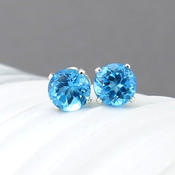 Small Blue Earrings: Swiss Blue Topaz Stud Earrings Small Silver Earrings December