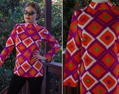 DIAMONDS 1960's 70's Vintage Bright Orange + Purple Tunic Blouse with Long Sleeves // size Small Med