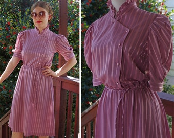 LILAC 1970's 80's Vintage Light Purple Striped Secretary Dress with Ruffles + Side Buttons // size Jane BAAR // size Small Med