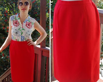 STRAWBERRY Red 1970's 80's Vintage Bright RED Pencil Skirt // size Small Med // Waist 28 29