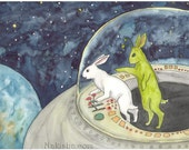LWR and the Alien - Fine Art Print - Rabbits and Space Ship