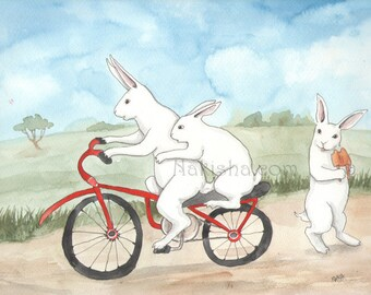 Bunnies on a Bicycle - Watercolor Rabbit Painting