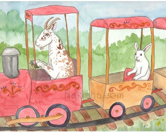 Goat on a Train - Watercolor Rabbit Painting