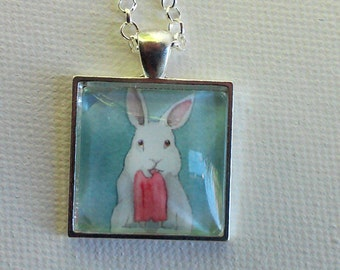 Square Bunny Pendant  - Bunny with a Popsicle