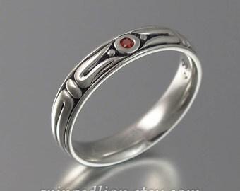 THE SECRET silver mens wedding band with Garnet