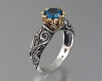 BEATRICE engagement ring in silver and 14K gold with London Blue Topaz