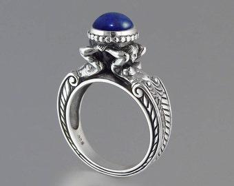 CARYATID Sterling Silver Ring with Lapis Lazuli