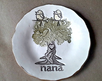 NANA with 2 Birdy Ceramic  Trinket Bowl edged in gold  Mothers day