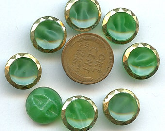 Set of 8 1940s GREEN Moonglow Glass Concave Buttons With Gold Luster 1/2 inch size 1436 MORE AVAILABLE