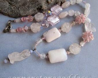 Gemstone Pink Opal Rose Quartz Kitty Cat Necklace by Cornerstoregoddess