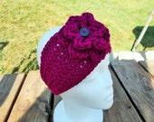 Headband /Earwarmer/Wrap With Flower-Boysenberry