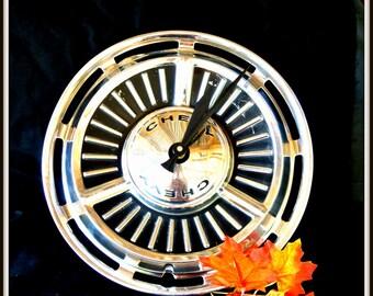 Vintage Chevy Hub Cap Clock, Man Cave Decor, Teen Bedroom Decor, Graduation Gift, Christmas Gift