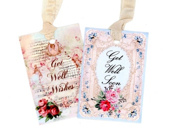 Get Well Soon Tags , Get Well Wishes Tags , Blue Tags , Pink Tags , Flower Tags , Get Well Sentiments