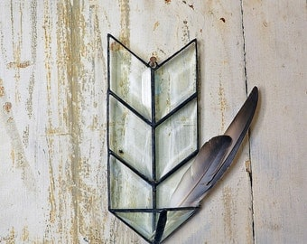 Air Planter. Air Plant Holder. Stained Glass Arrow. Single Shelf. Wall Planter.  Jewelry Storage. Shelf. Hanging Planter. Arrow wall hanging