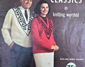 Knitting Patterns Sweaters Family Classics in Knitting Worsted Ladt Galt 31 Vintage Paper Original NOT a PDF