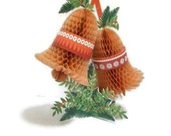 Vintage Hallmark Honeycomb Christmas Bells In Package