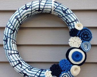 Anchor Wreath - Nautical Wreath - Fall Wreath - Beach Wreath - Navy - Maritime Wreath - Anchor Ribbon - Striped Wreath - Felt Flower Wreath