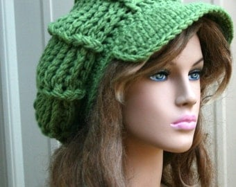 Newsboy hat, Green Visor Cap, Billed Tam Hat, Slouchy Beanie Hat, Bohemian Newsboy cap, BoHo beanie hat, woman crochet hat, thick Hippie cap