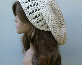 Natural cotton Dread Tam Slouchy beanie, Dreadlocks Hat, Hippie Slouch Beanie Hat, Bohemian long beanie, baggy hat, ecru saggy beanie, woman