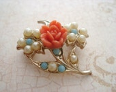 Vintage Rose Cabochon and Pearl Brooch - Rose Scatter Pin