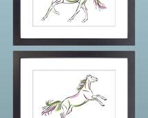 Set of 2 5x7 Horse Illustration Printables