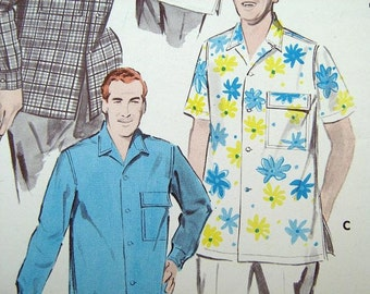 Estate SaLe Vintage Mens Shirt Pattern Beach Butterick 7998 Mid Century Hollywood 50s Tropical Mad Men Small 14 1/2 15 Neck 34 35 36 Chest