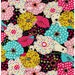 HALF YARD - Polar Bears hiding in Flowers on Black - Large Scale Print - Oxford Cotton - Kokka Japanese Import
