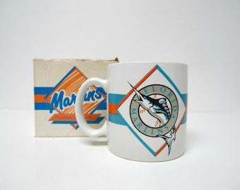 1990s FLORIDA MARLINS by RUSS . 1993 - 2011 original team's logo . coffee mug with original box